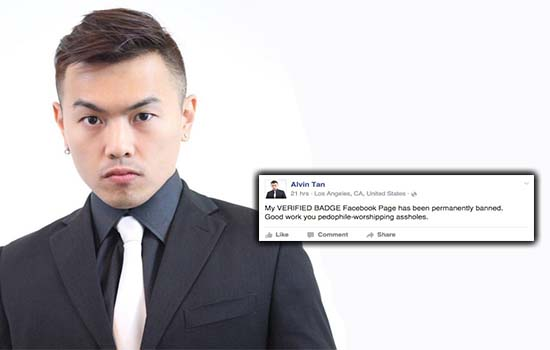 Alvin Tan Meroyan Page Facebook Kena Banned