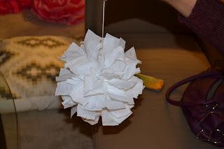 white crepe paper hanging pom (diy craft)
