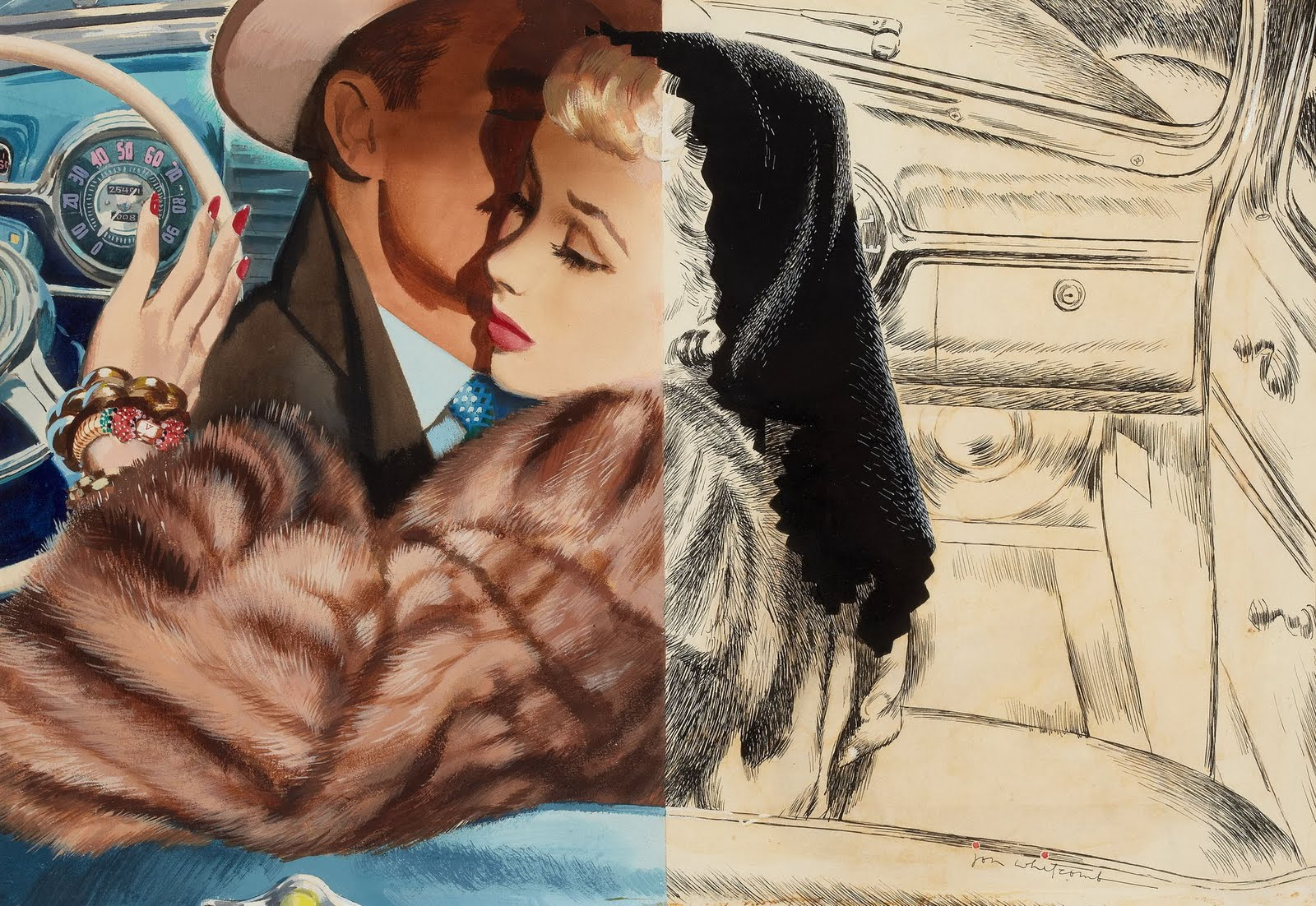 Half painted pin-up art by Jon Whitcomb of a couple in car hugging