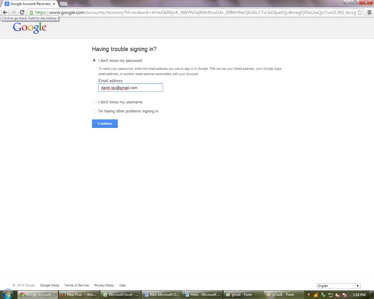 update gmail password