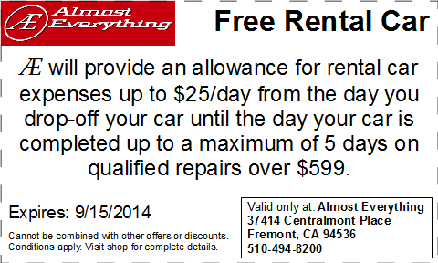 Coupon Almost Everything Free Rental Car August 2014