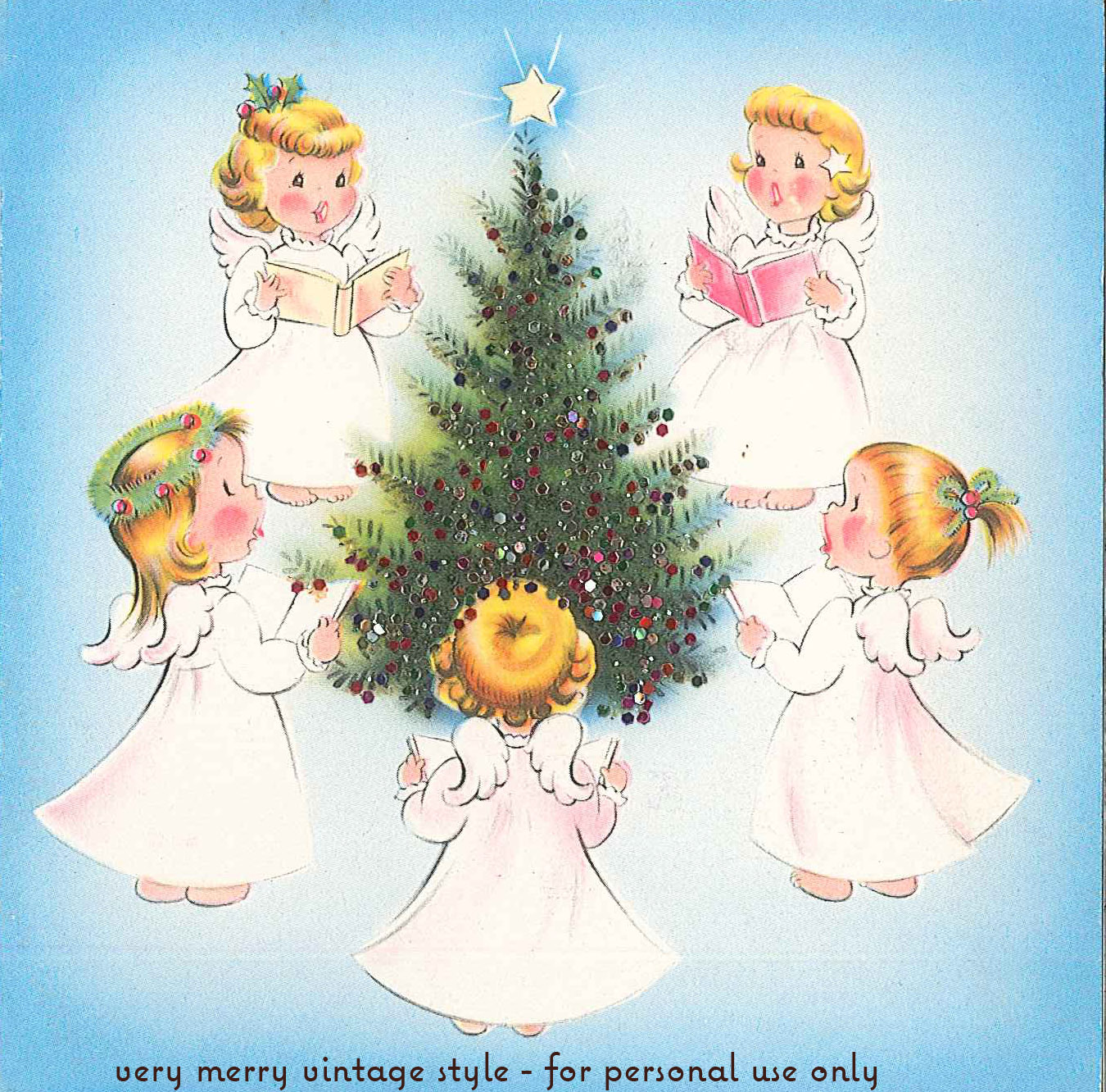 Very merry vintage syle cute angel vintage christmas card for Christmas angels