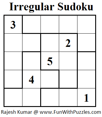 Jigsaw Sudoku or Irregular Sudoku  (Mini Sudoku Series #23)