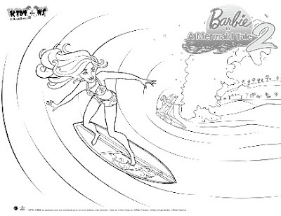 Barbie Surfing Coloring Pages