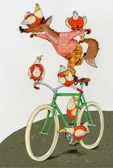 circus illustration by Robert Wagt of a fox and chicken on a bicycle