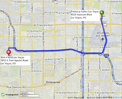 map of Wet n'Wild Las Vegas is 12 miles/19 minutes away from Embassy Suites Las Vegas