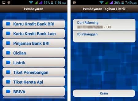 Aplikasi Untuk Bayar tagihan listrik via BRI