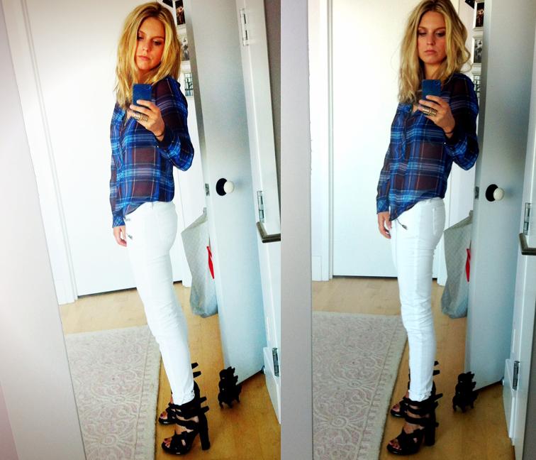 OOTD Sheer Plaid H&M Top Dries J Brand Zoe Jeans