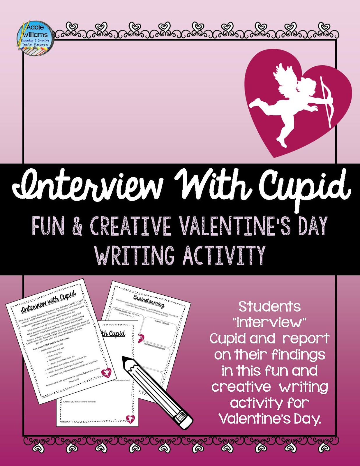 https://www.teacherspayteachers.com/Product/Valentines-Day-Writing-Activity-Interview-With-Cupid-475057