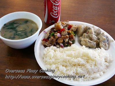 Crispy Sisig, Ginataang Baboy with Rice and Ginisang Mungo