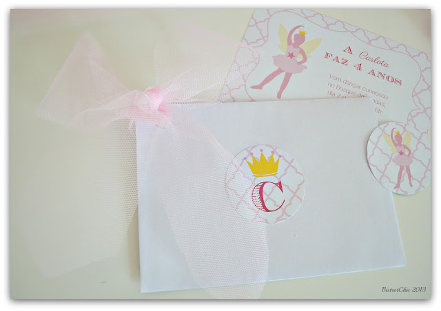 Personalised Fairy ballerina Invitation and envelope from BistrotChic