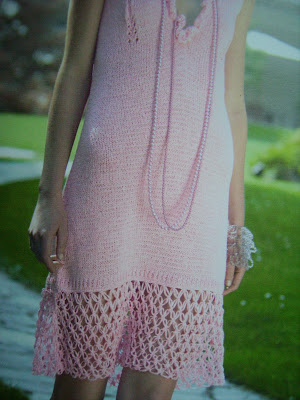 pink hand-knitted evening dress