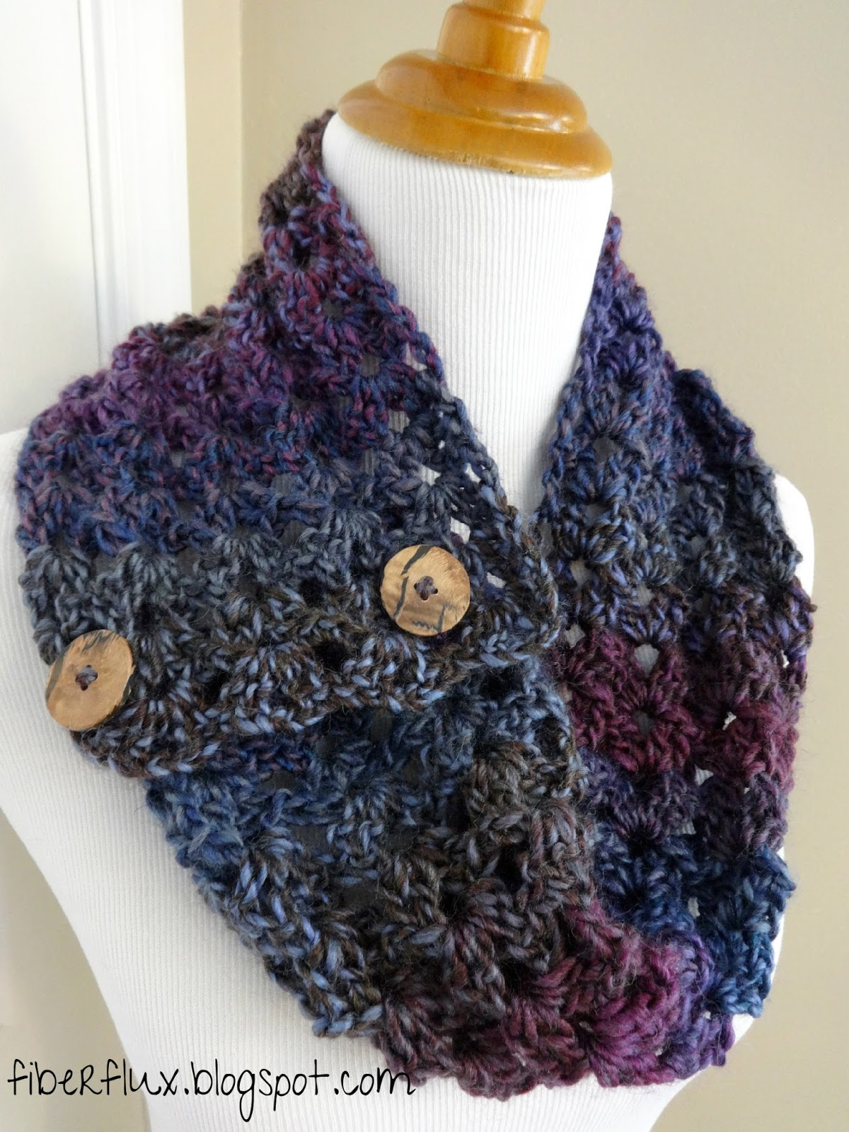 Free Crochet Pattern Button Scarf : Fiber Flux: Free Crochet Pattern...Estelle Button Cowl!