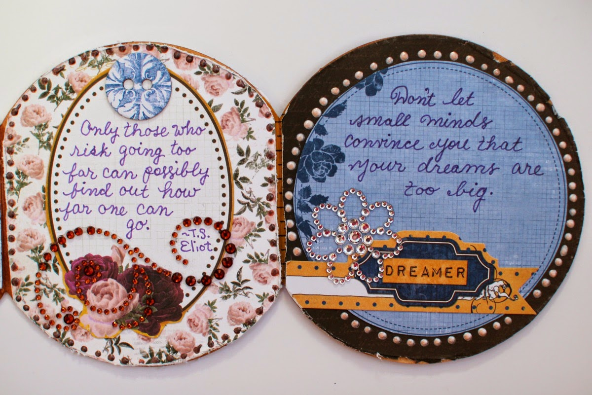 Quotes Altered Tin by Ilene Tell using BoBunny Rose Cafe Collection