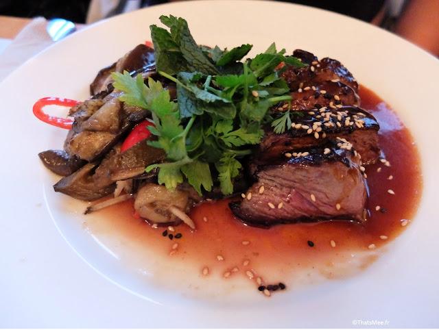 plat boeuf grillé à la plancha façon tigre qui pleure et rougailles d'auberginesdu Centreville, Restaurant à Paris 11ème  charonne Keller