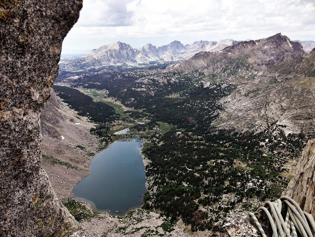 The Cirque of the Towers in the Wind River Range of Wyoming. Looking down from belay station 8 on Wolf's head, Lonesome lake