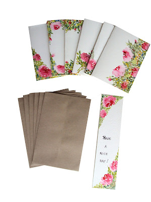 stationery,notecards,giftcards,roses,envelopes,brown,bookmark,set
