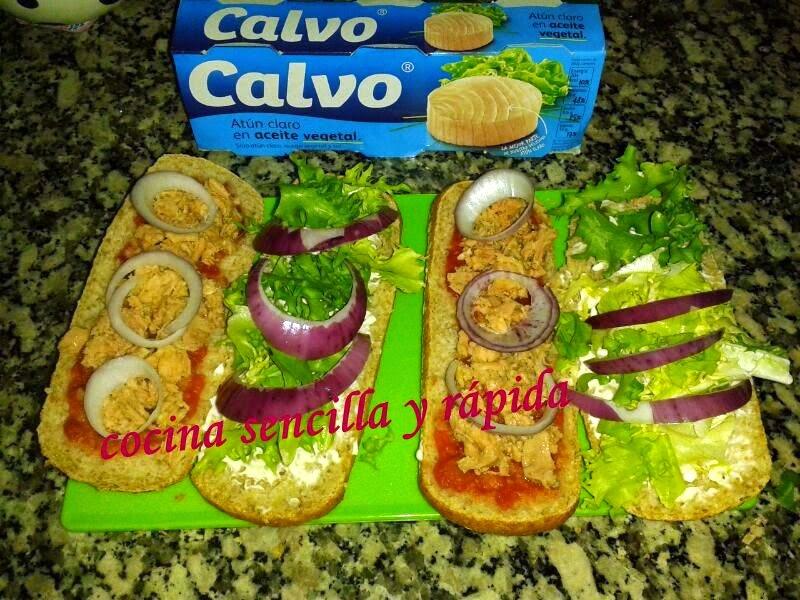 Cocina sencilla y r pida bocadillo vegetal con at n for Cocina rapida y sencilla