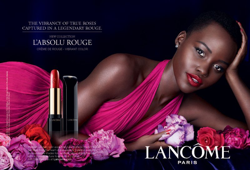 Lupita Nyong'o is gorgeous for the Lancome Paris L'Absolu Rouge Campaign 2014
