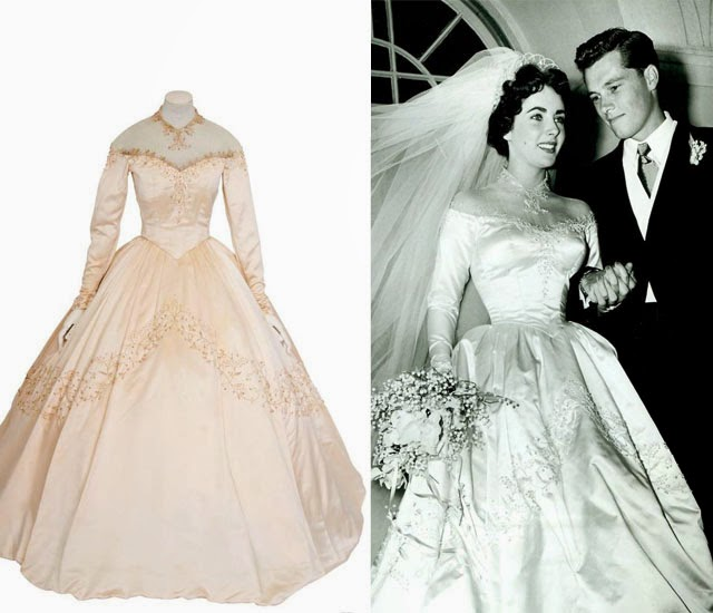 ELIZABETH TAYLORS WEDDING DRESS RED DIAMONDS ANYONE