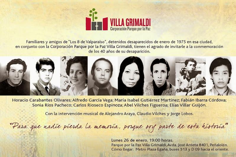 """PEÑALOLEN:  Acto conmemorativo familiares y amigos de """"Los 8 de Valparaíso"""" en Villa Grimaldi"""