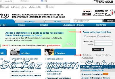 Portal do DETRAN-SP. Cadastramento para serviços eletrônicos.