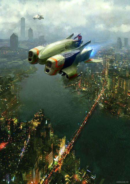 Geoffroy Thoorens djahalland deviantart ilustrações arte conceitual guerras futuristas batalhas tecnologia Nave futurista