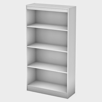 frabric storage system: 4-shelf bookcase manufactured by South Shore
