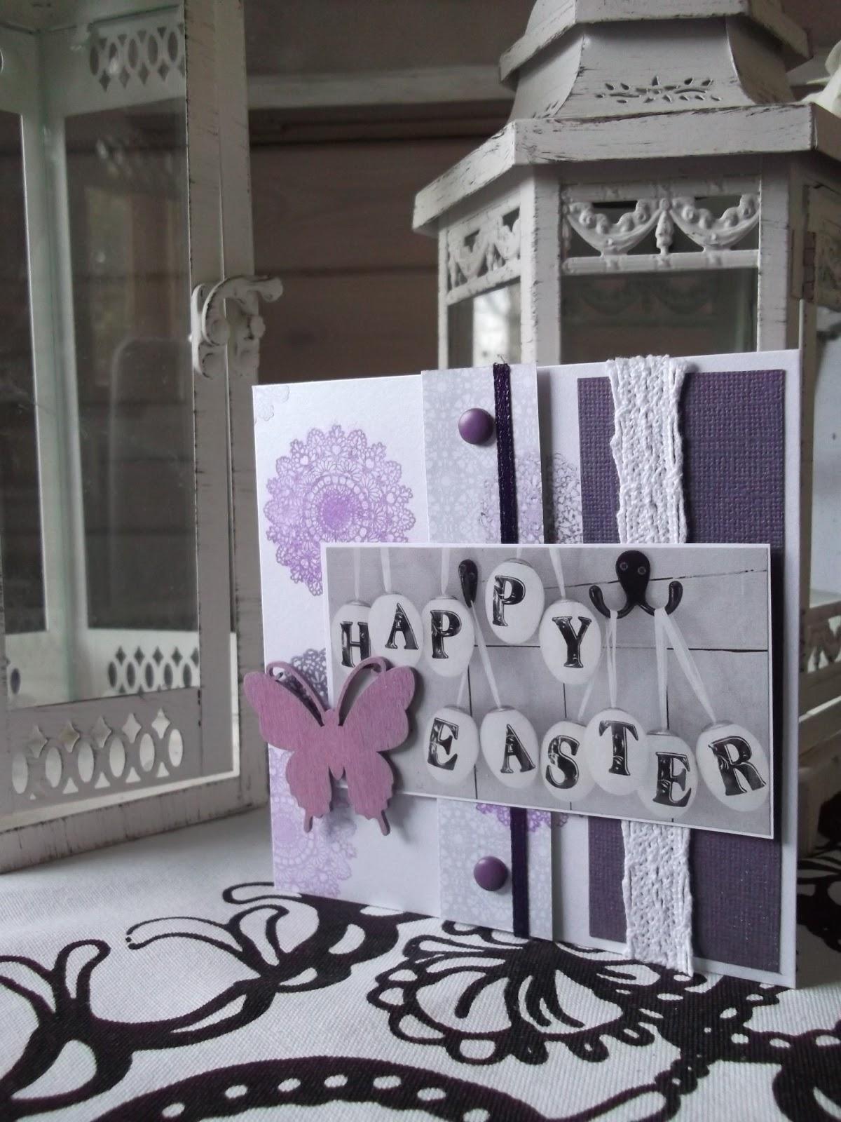 Itsetehty kortti tekstillä Happy Easter