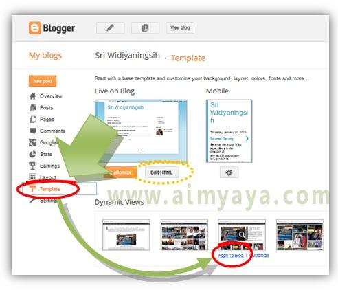 Gambar: Mengganti template di blogger
