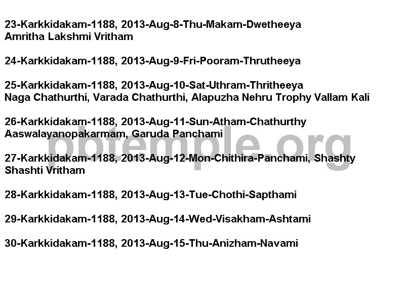 Hindu Festivals: 1188 Karkkidakam 1-31, 2013 July 17 to August 16