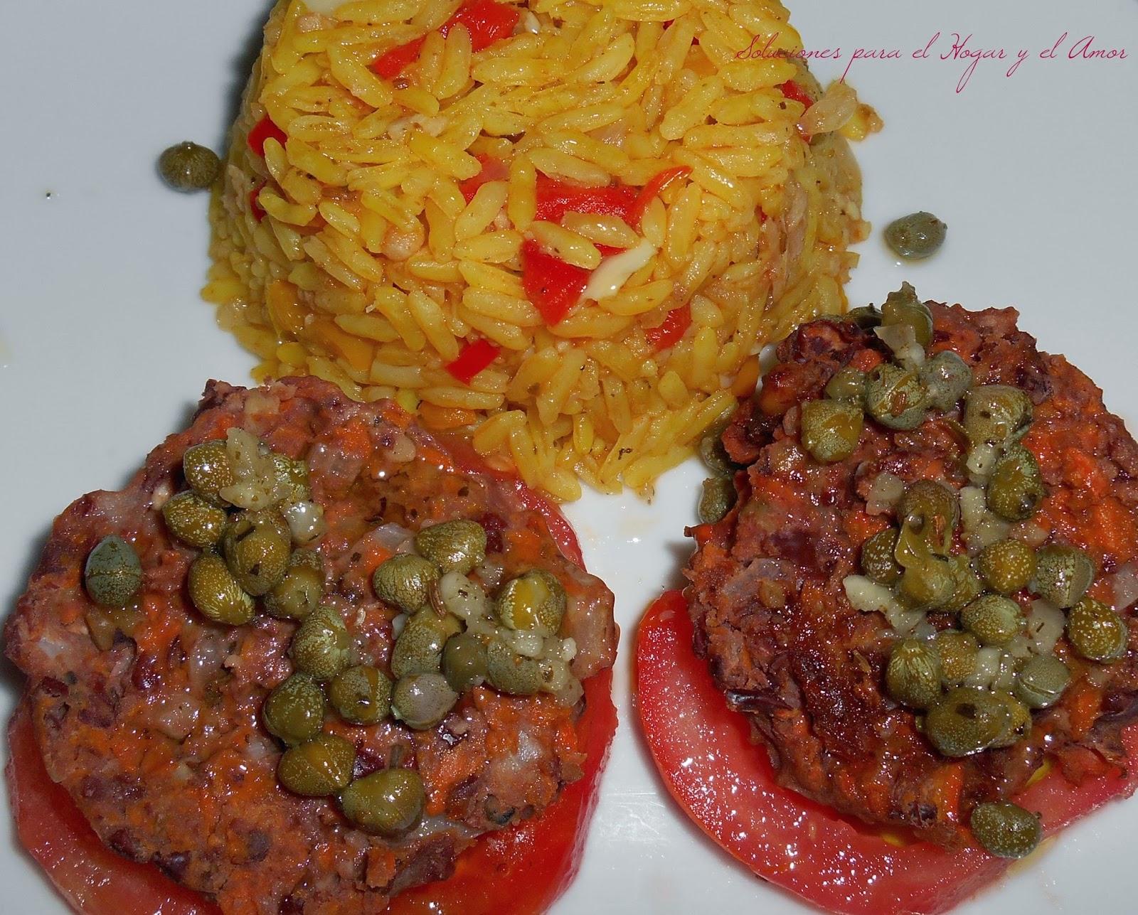 Arroz vegetariano y aderezo de alcaparras