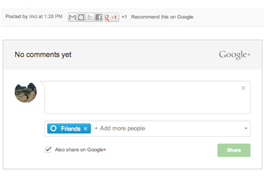 Google + Comment for Blogger Blogs