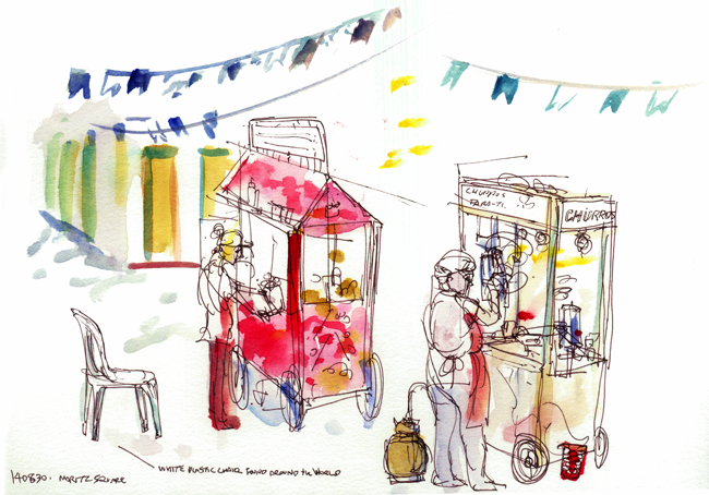 "Shiho Nakaza Paraty Brazil ""Urban Sketchers"" ""Urban Sketching Symposium"" sketching watercolor festival ""food cart"""