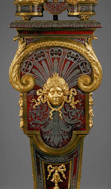 lock with pedestal (Pendule sur gaine), ca. 1690 Movement by Jacques III Thuret (French, 1669–1738) or more likely his father, Isaac II Thuret (French, 1630–1706); case by André-Charles Boulle (French, 1642–1732) after designs supplied by Jean Berain (French, 1640–1711)