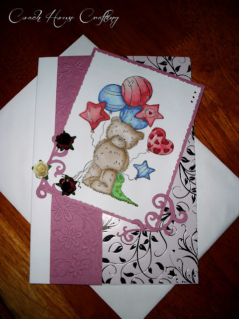 birthday card, handmade card, popcorn the bear card, ladies card, girls card