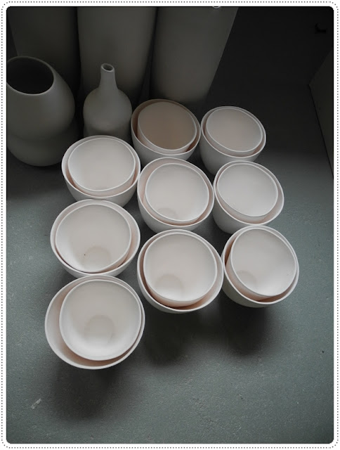 Bisced fired slip cast porcelain organic cups - two sizes...