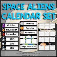 Space Classroom Decor Theme: calendar set (months, days of the week, years, days 1-31, birthday chart in two options, days in school chart.