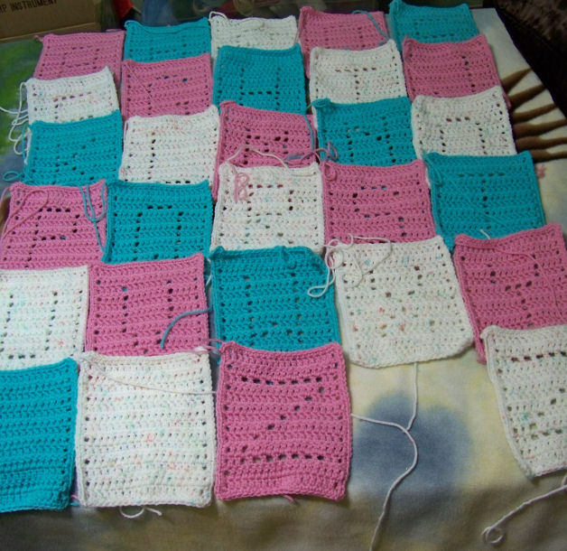 ch 21 with an I hook for each rectangle and worked a single crochet ...