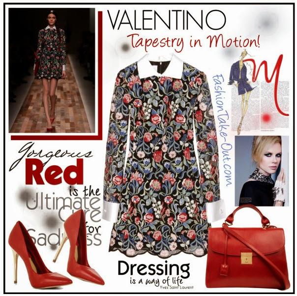 the valentino tapestry lace mini dress