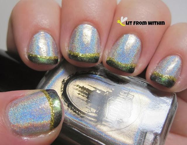 Next, I used the Milani gold glitter striper over the green