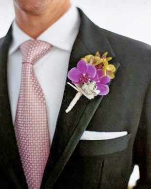 purple orchid boutonniere