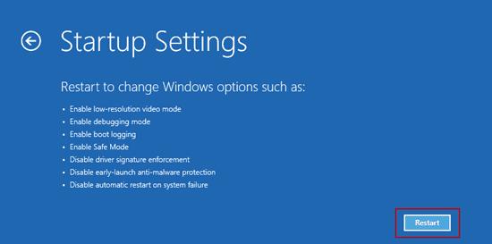 restart windows 10 to change windows options