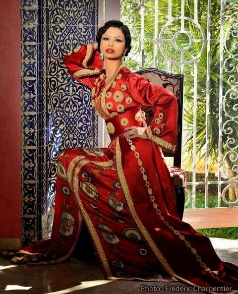 caftan marocain rouge luxe