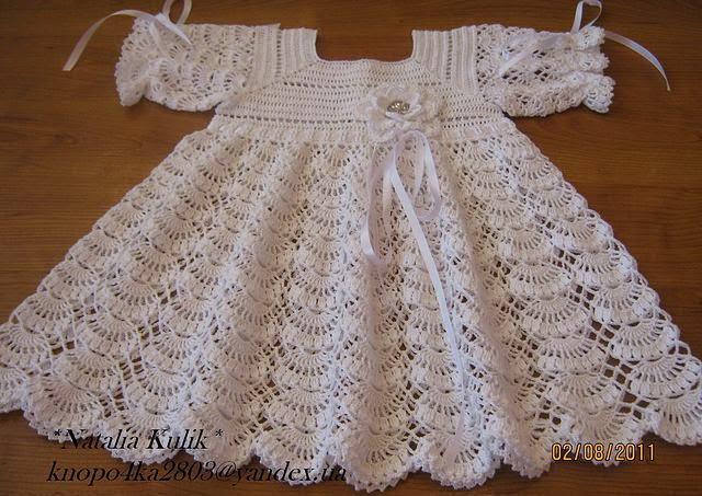 Nov 01, · Grazioso vestitino per neonata lavorato all'uncinetto col punto ventaglio. Il vestito un bottone dietro lo scollo per poterlo infilare dalla testa con facilità e una fascia in vita per stringerlo.