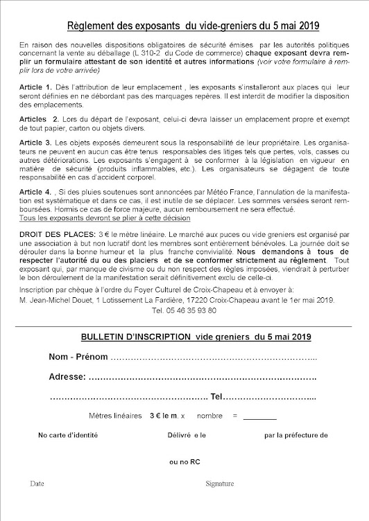 Règlement du vide-greniers