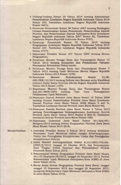 SK Gubernur Jawa Barat UMK 2016 Hal 2