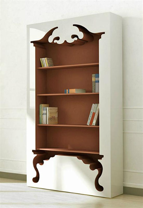 Unique Bookcase With Vintage Style Inspired By Classic Furniture Forms