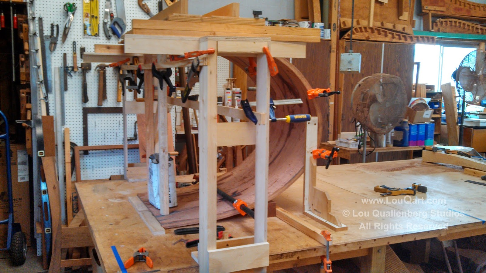 Base Jig for laminated mesquite curves by Lou Qualleneberg