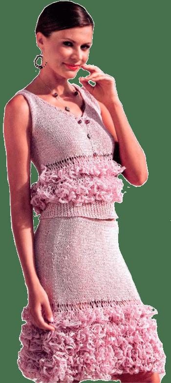 топ и юбка, отделанные бахромой из пряжи